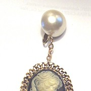 Vintage..HUGE Cameo Dangle Earrings...Smashing!!