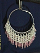 80's ...Huge Silver Filigree Hoop Earrings...With Pink..Or.. Blue Glass Beads Beads. NIB