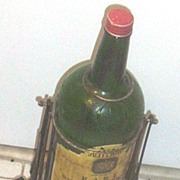 Vintage...J&B Giant Glass Scotch Whiskey Bottle.. BAR Display Bottle With Wrought Iron Stand..