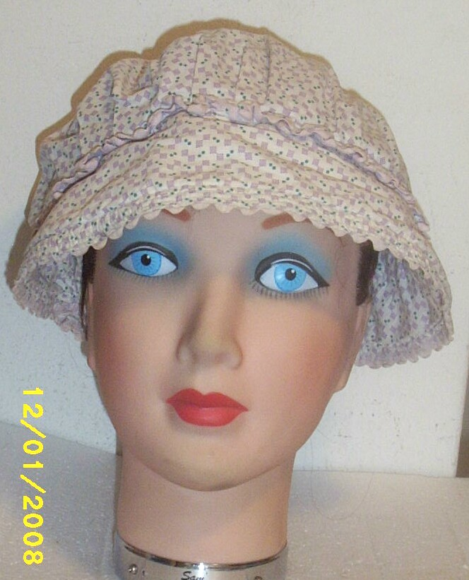 Vintage...Mennonite Cotton Printed Cap...Mauve Geometric..