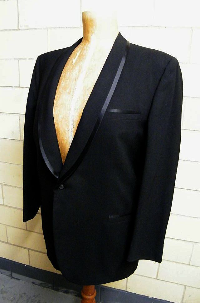 Mid-Century Black Wool Men's Tuxedo Suit..Narrow Shawl Collar..Satin Trimmed..