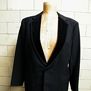 Mid-Century Men's Black Wool Tuxedo With Velvet Notched Collar With Passementerie Trim..Pants