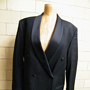 Men's 2 Piece Black Wool Tuxedo Suit With Suspenders..Studio Milano..Italy..Super 100's Austra