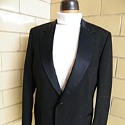 Men's Tuxedo Jacket..Black Wool Sharks Skin..Notched Satin Collar..Size 42L.Excellent Conditio