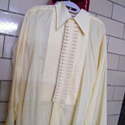 Men's Fancy Pale Yellow Tuxedo Shirt..16.5&quot;..Poly/Cotton