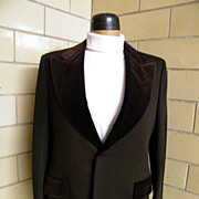 Mod Tuxedo Suit..Brown Poly Satin Stripe Knit..Velvet Lapel & Trim..Hip Hugger Pants With Velv