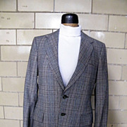 Mod Wool Glen Plaid Suit in Black, Brown, & White..Made In USA..