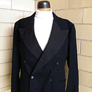 1940's Men's Black Wool Tuxedo Suit..Wide Faille Lapels..Pants Novelty Satin Stripe..Mack &Gre