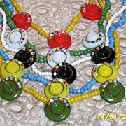 Vintage Glass Hand Painted  Button Necklaces...Assorted Necklaces..5.. And Colors