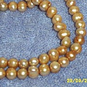 Hand Knotted Dusty Peach Fresh Water Cultured Pearl Necklace Rice Shaped Bead