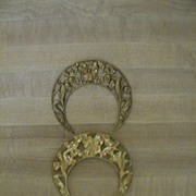 Vintage Brass Crescent Shaped Floral Ormolu..Excellent Condition..2 Available