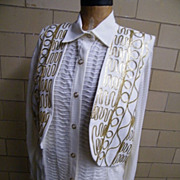 3 Piece Pantsuit..Harem Pants..Long Over-Blouse..Vest..Gold Passementery Trim..Size L..Helene