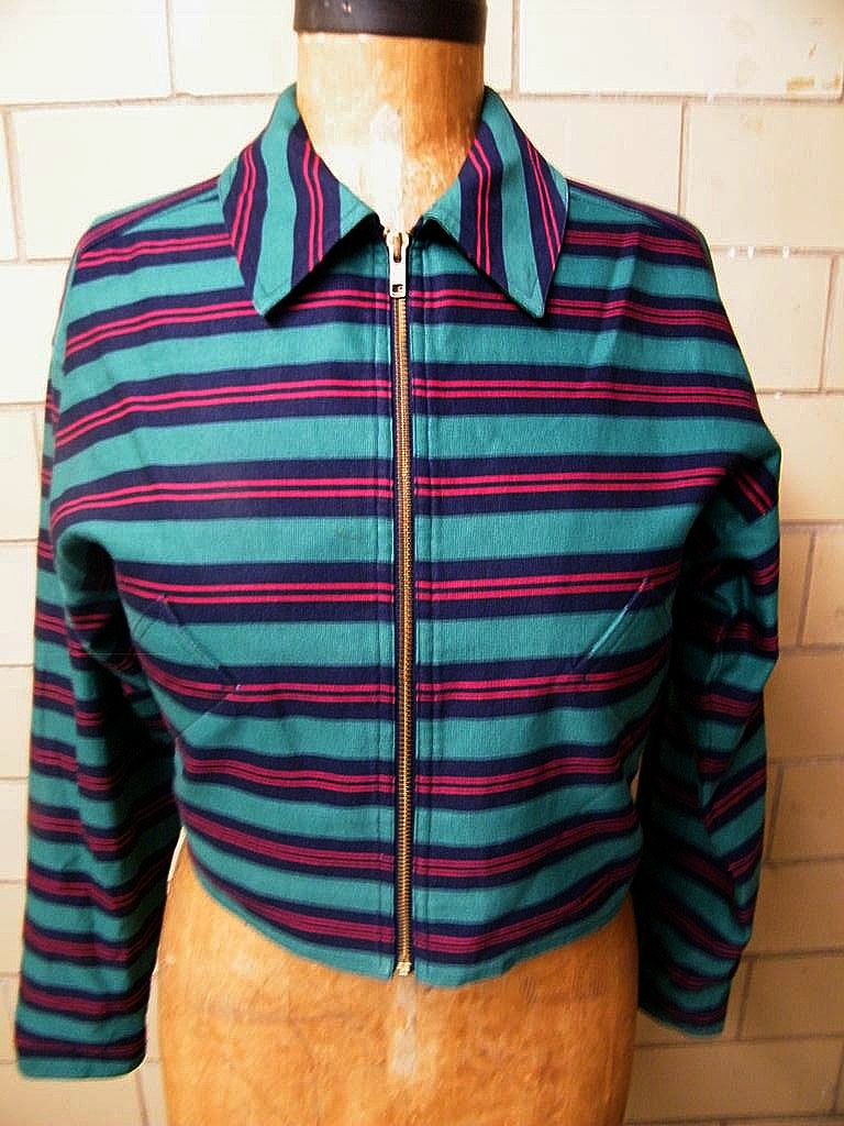 1960's MOD  Pants Suit..Bright Green / Navy Horizontal Stripe..Faille