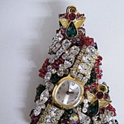 Artisan Rhinestone Christmas Tree Collage Pin With Watch & Angels..New Condition