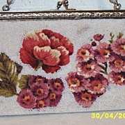 Vintage...Glass Beaded Purse With Printed Flowers On Linen..Inserts..Hong Kong
