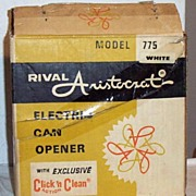 Mid-Century RIVAL Aristocrat ..Electric Can-Opener..White..#775..Click 'N Clean Action..NIB
