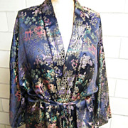 Chinese Brocade Rayon Satin Long Robe With Tie..Dark Navy Ground With Jewel Tone Colors. Excel