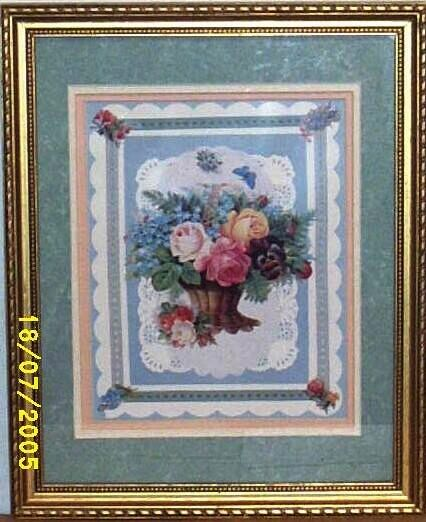 Portal..Victorian Roses & Butterfly...#B-3465...& Victorian Rose Basket..Framed Prints...Signed..Kathy Or..Sold Separately..2 Framed Prints