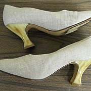 Yves Saint Laurant..Marbled Honey Colored Lucite Medium Heels...Shoe Is Natural Linen..Italy..