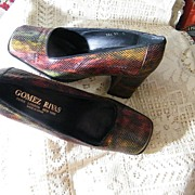 "Vintage Gomez Rivas' Reptile Snakeskin Shoes..3"" Heel..Autumn Colors..Size 37D..Made In S"