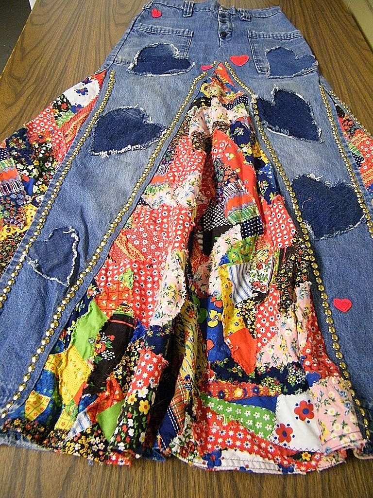 Vintage..PATCHWORK Jean Skirt With Nailheads & Hearts By Little Bits New York..Excellent Condition..Small Size