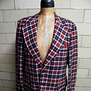 Vintage 1960'-70's Men's Sports Jacket Coat..Rust / Navy / Beige Tattersall Check..Wool ...