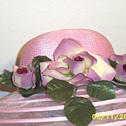 Pink Polypropylene Straw Hat With Shaded Pink And Wine Roses On With Alternating Rows Of Sheer