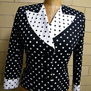 Designer Suit..Black/White Dots..Pique Cord..Seena's Boutique..1980's..Excellent Condition..Si