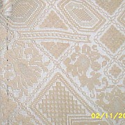 "Vintage Linen & Lace Ecru Tablecloth...62"" X 79""...Very Good Condition"