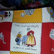 Vintage..Printers Sample..Penna Dutch Tablecloth With Paper Tag...