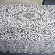 REDUCED Vintage CANTU Lace All Linen Tablecloth..All Lace..Ecru..Hand Made..Large 90 X 105..Ex