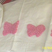 Vintage...Pink Chenille Butterfly Child's Sheets...Gently Used