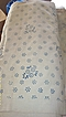 Natural Muslin-Canvas Valance Yardgoods With Faded Blue Dot Floral