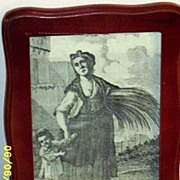 Antique..Woman Holding Wheat With Child..Toile de Jouy Gray Copper Engraved Print on Cotton Sa
