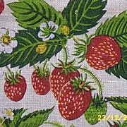 Screen-Printed Vintage Strawberry Tea Towel Or Kitchen Towel By Kay Dee Signed By Artist Marge