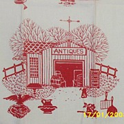 Vintage... Red Ant Barn Printed  Kitchen Towel..Slubbed Linen