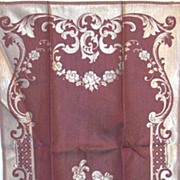 SALE PENDING Vintage Damask Jacquard Colonial Couple Guest Towels Cotton/Rayon Wine/White  Pai