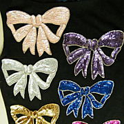 Vintage Applique Trims..Large Bows..in Sequins & Beaded Outline..Ass't Colors..NOS..Hong Kong.