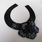 Vintage..Designer Quality Black Glass Bugle Beaded With Black Sequin Flower Accent..NOS