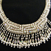 Applique Trim..Neckline..Faux Pearl..Clear Glass Beads & AB Rhinestone & Beads..Quality..NOS..