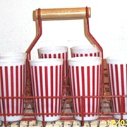 Tall Hazel Atlas...Anchor Hocking Red & White Striped Milkglass Tumblers Set Of Seven
