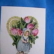 Valentine Collage Greeting Card..Vintage Scraps..Girl In Blue Dress..Pink Tulips..Gold Foil ..