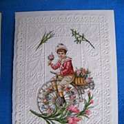 Victorian Valentine..BOY ON BIKE..Lacy..Pink Roses & Lilies..Embossed..Die Cut..Never Used. ..