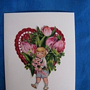Valentine Collage Greeting Card..Boy In Blue..Red Foil Heart..Pink Tulips..Vintage Scraps..Min