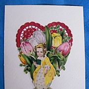 Valentine Collage..Vintage Scraps..Girl In Yellow Victorian Dress Reading Book..Red Embossed .