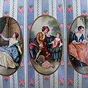 Victorian Box Decorations..Inserts..Victorian Family..Wallpaper Strip Ground..Excellent Condit