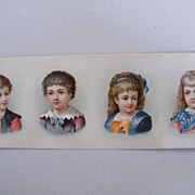 Victorian Scraps Of 4 Children..Glossy.. On Sheet For Decoration On Boxes, Albums, Etc.