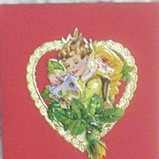 Vintage Die-Cut Scraps Hand-Made Birthday Card..Pop-Up..Heart / Boy..SPECIAL