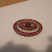 Large Oval Brooch / Pin in Coral,Clear & Violet Rhinestones..Very Special!!