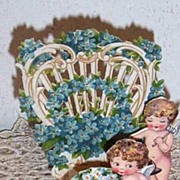 Victorian Greeting Card..3-D..Two Cherubs..Valentine Trellis With For-Get-Me-Nots..Die ...